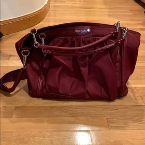 NEW MZ WALLACE cranberry purse w multiple pockets